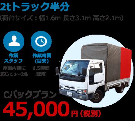 2トントラック半分 45,000円(税別)